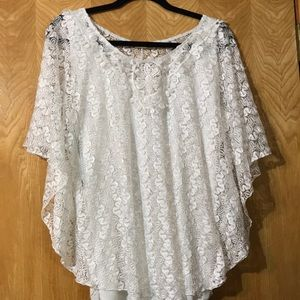 Tops, White lace over camisole